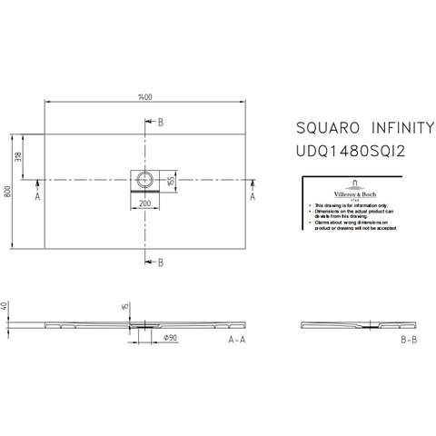Villeroy & Boch Squaro Infinity douchebak 140 x 80 x 4 cm. grijs