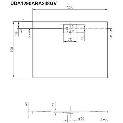 Villeroy & Boch Architectura douchebak 120 x 90 x 1.7cm. antislip metalrim wit