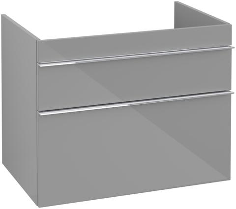 Villeroy & Boch Venticello wastafelonderkast 75.3x59 cm. 2x lade glossy grey