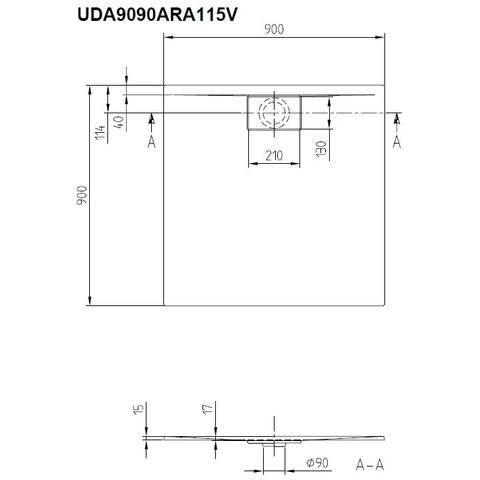 Villeroy & Boch Architectura douchebak 90 x 90 x 4.8 cm. metalrim stone white