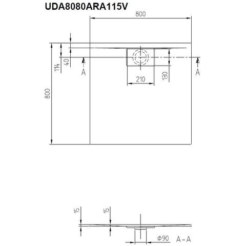 Villeroy & Boch Architectura douchebak 80 x 80 x 4.8 cm. metalrim grijs