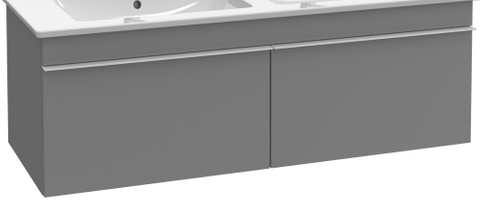 Villeroy & Boch Venticello wastafelonderkast 125.3x42 cm. 2x lade glossy grey