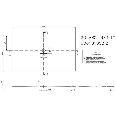 Villeroy & Boch Squaro Infinity douchebak 180 x 100 x 4 cm. bruin