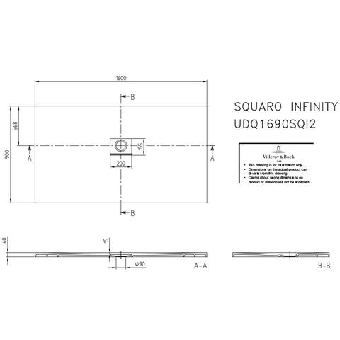 Villeroy & Boch Squaro Infinity douchebak 160 x 90 x 4 cm. grijs