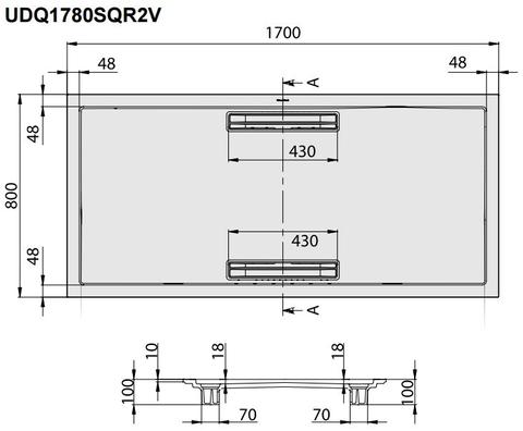 Villeroy & Boch Squaro douchebak 170x80x1,8cm.met afvoer + ondersteuning bruin