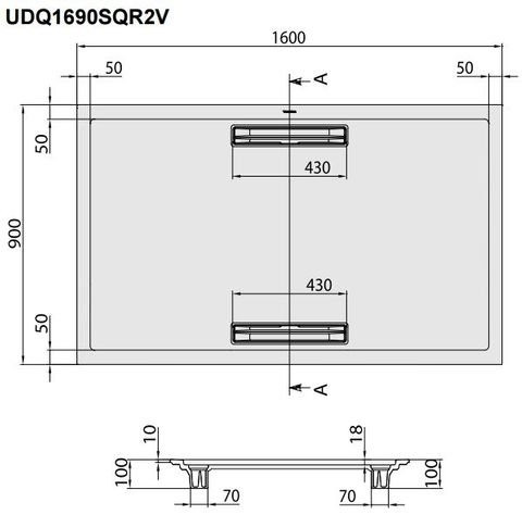 Villeroy & Boch Squaro douchebak 160x90x1,8cm.met afvoer + ondersteuning antraciet