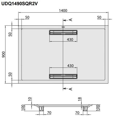 Villeroy & Boch Squaro douchebak 140x90x1,8cm.met afvoer + ondersteuning grijs