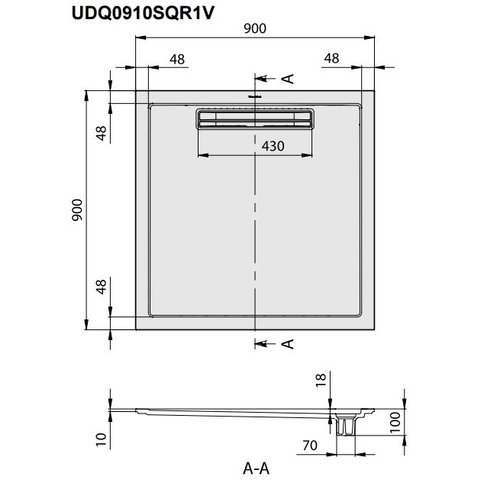 Villeroy & Boch Squaro douchebak 90x90x1,8 cm.met afvoer en ondersteuning antraciet
