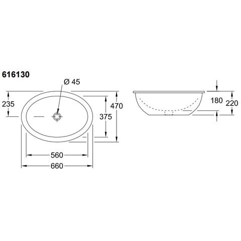 Villeroy & Boch Loop & Friends onderbouw wastafel 56x37,5 cm. met overloop pergamon