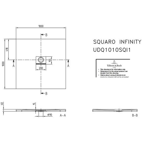 Villeroy & Boch Squaro Infinity douchebak 100 x 100 x 4 cm. antraciet