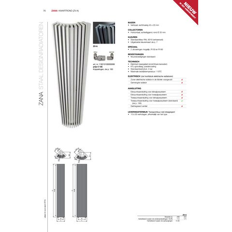 Vasco Zana Zv-A design radiator 322x1800 n10 1071w as=0018 wit