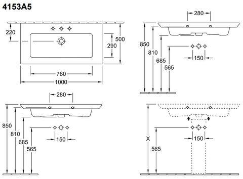 Villeroy & Boch Legato meubelwastafel 100x50 cm. 1xkraangat met overloop wit