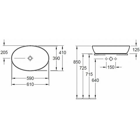 Villeroy & Boch Artis opzetwastafel ovaal 61x41cm zonder kraangat zonder overloop wit CeramicPlus