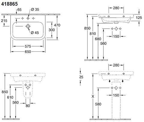 Villeroy & Boch Architectura wastafel 65x47 cm. 1x kraangat met overloop wit