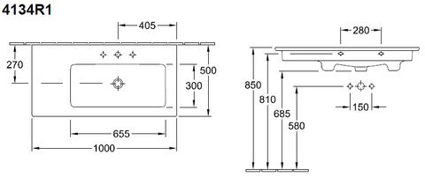 Villeroy & Boch Venticello meubelwastafel bak rechts 100x50 1xkrgt.m/overl.c+ wit