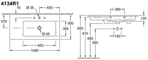 Villeroy & Boch Venticello meubelwastafel bak rechts 100x50 1xkr.gat m/overl. wit