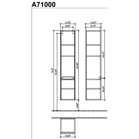 Villeroy & Boch Subway 2.0 kast hoog 35x37x165 cm.met 2 deuren rechts eiken grafiet