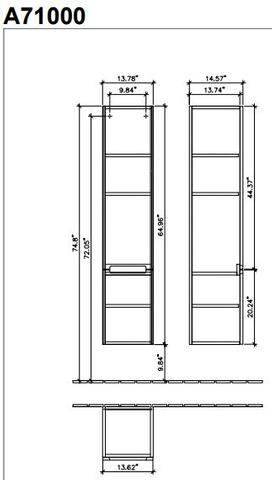 Villeroy & Boch Subway 2.0 hoge kast 35x165 cm. met 2 deuren scharn. rechts mat wit