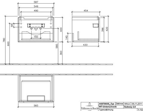 Villeroy & Boch Subway 2.0 wastafelonderkast 58,7x41,6x45,4 cm. glossy wit