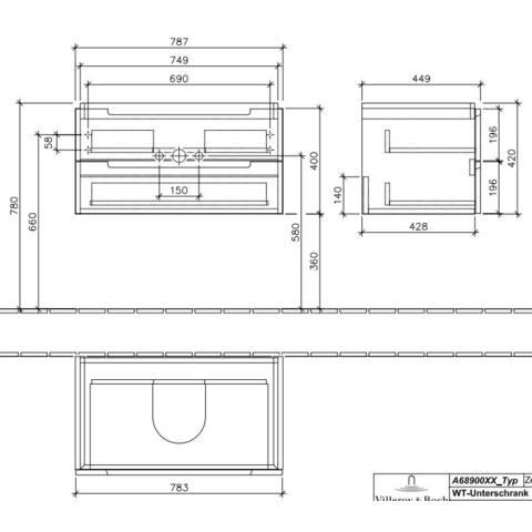 Villeroy & Boch Subway 2.0 wastafelonderkast 78,7x41,6x44,9 cm. met 2 laden eiken grafiet