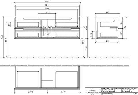 Villeroy & Boch Subway 2.0 wastafelonderkast 128.7x41,6x44,9 cm. met 4 laden glossy wit