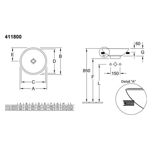 Villeroy & Boch Loop & Friends semi inbouw-opzetwastafel rond 38x38cm. m/overloop wit