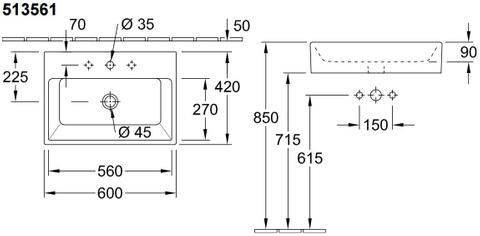 Villeroy & Boch Memento opzet wastafel 60x42 cm. 1 kraangat z/overloop /c+ wit