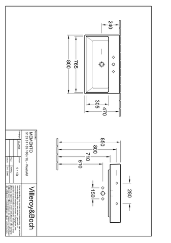 Villeroy & Boch Memento meub.wastafel 80x47 cm 1-3 gats zonder overloop c+ wit