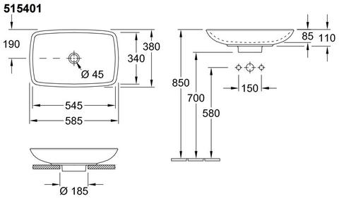 Villeroy & Boch Loop opzetwastafel 58,5x38 zonder overloop met plug c+ wit
