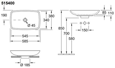 Villeroy & Boch Loop opzetwastafel 58,5x38cm.met overloop incl.plug c+ wit