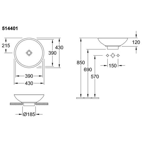 Villeroy & Boch Loop opzetwastafel 43 cm. zonder overloop incl. plug c+ wit