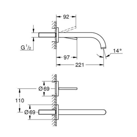 Grohe Atrio 2-gats wandkraan 22cm. hard graphite geborsteld