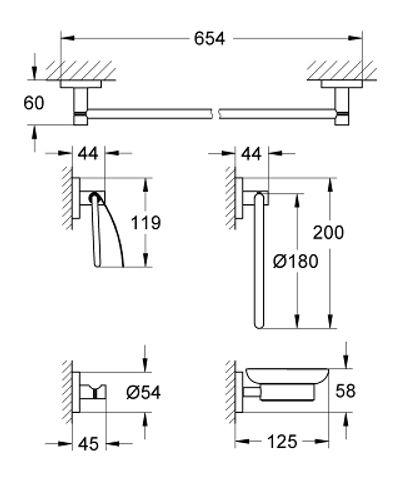 Grohe Essentials accessoireset 5-in-1 supersteel