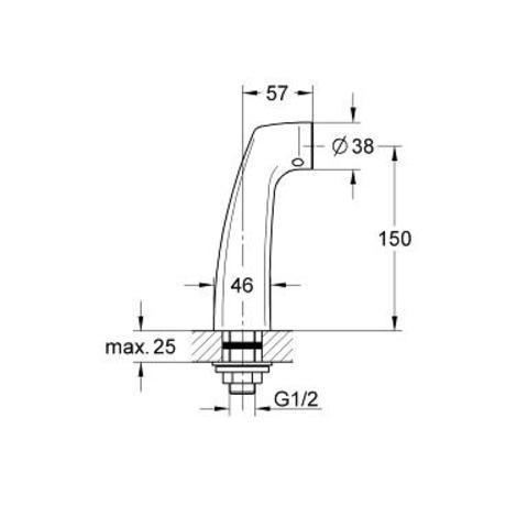 """Grohe  staande koppeling 15 cm.hoog 1/2""""bu.xnippel aansl. chroom"""