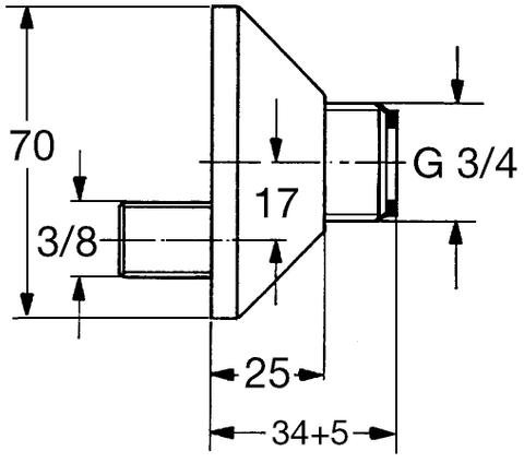 """Grohe  set s-koppelingen met roset 3/8""""x3/4""""sprong 16,5mm chroom"""