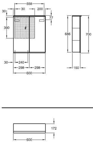 Sphinx Option plus spiegelkast 60x70 cm. met 2 deuren spiegel/spiegel