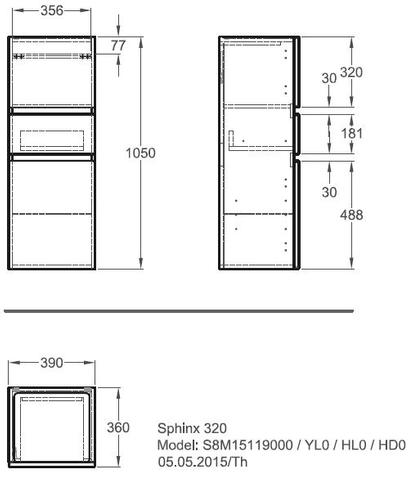 Geberit Renova Plan halfhoge kast 2 deuren met 1 lade 105cm eiken eiken