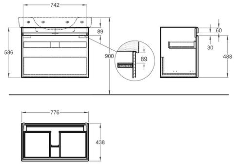 Geberit Renova Plan wastafelonderkast 1 lade 77,6x58,6cm iepen iepen