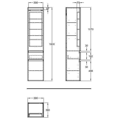 Geberit Renova Plan hoge kast 2 deuren met 1 lade 180cm glans wit