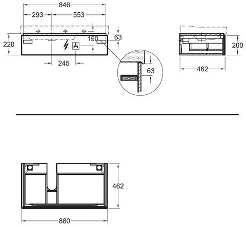 Geberit Xeno2 wastafelonderkast 1 lade 88x22cm greige greige