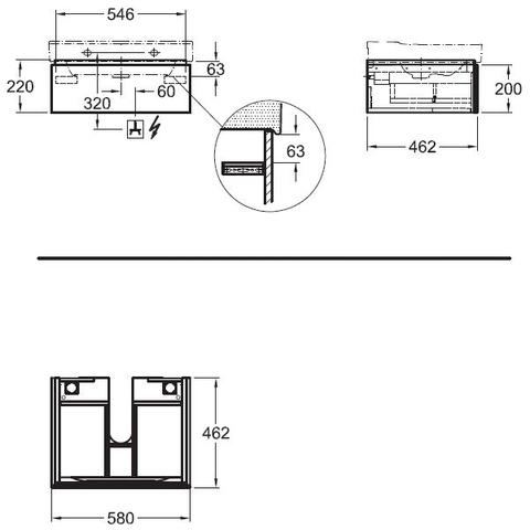 Geberit Xeno2 wastafelonderkast 1 lade 58x22cm greige greige