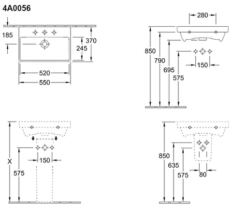 Villeroy & Boch Avento meubelwastafel 55x47cm.1x kraangat z/overloop wit