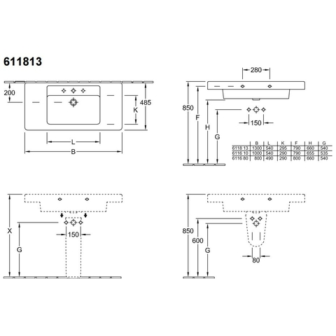 Villeroy & Boch Omnia Architectura meubelwastafel 130x49cm.ceramicplus enkele bak wit