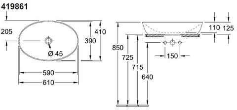 Villeroy & Boch Artis opzetwastafel ovaal 61x41 z/kraangat z/overloop c+ ocean