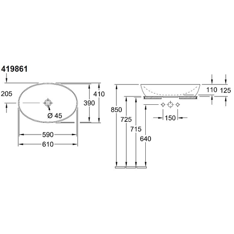 Villeroy & Boch Artis opzetwastafel ovaal 61x41 z/kraangat z/overloop c+ fog