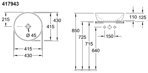 Villeroy & Boch Artis opzetwastafel rond 43 cm.z/kraangat z/overloop c+ lemon