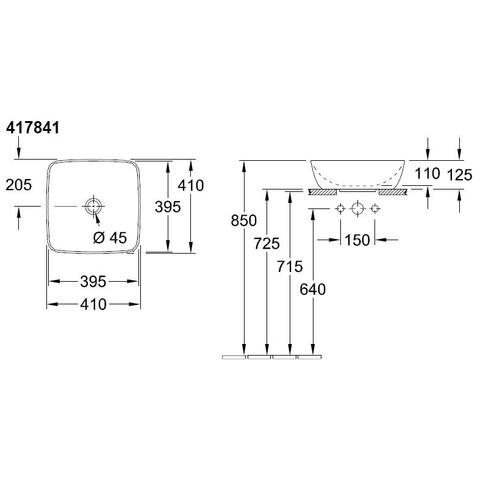 Villeroy & Boch Artis opzetwastafel 41x41 z/kraangat z/overloop c+ french linen