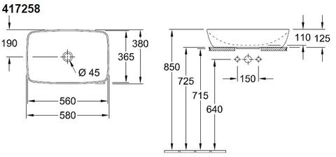 Villeroy & Boch Artis opzetwastafel 58x38 cm.z/kraangat z/overloop c+ french linen