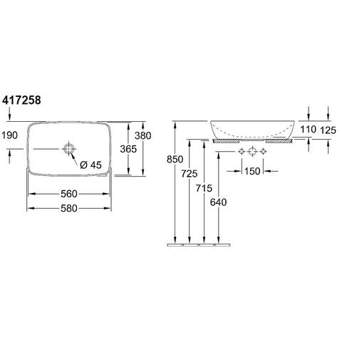 Villeroy & Boch Artis opzetwastafel 58x38 cm.z/kraangat z/overloop c+ fog