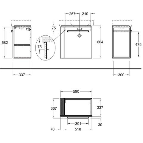 Geberit Renova Compact wastafelonderkast 1 handdoekh.59cm deur lichtgrijs glans lichtgrijs